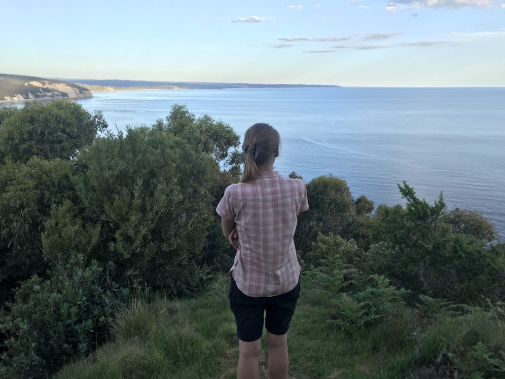 Looking back at Cape Otway Lighthouse waaaay off in the distance. It was really really cool to be able to look back along the coast and recognise land marks that were literally days behind us